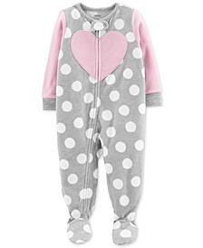 Toddler Girls Footed Heart Pajamas