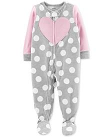 Carter's Toddler Girls Footed Heart Pajamas