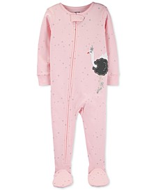 Toddler Girls Cotton Footed Swan Ballerina Pajamas