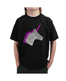 Boy's Word Art T-Shirt - Unicorn