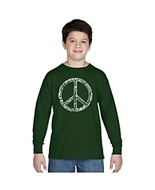 Boy's Word Art Long Sleeve T-Shirt - The Word Peace in 77 Languages