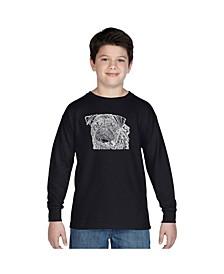 Boy's Word Art Long Sleeve T-Shirt - Pug Face