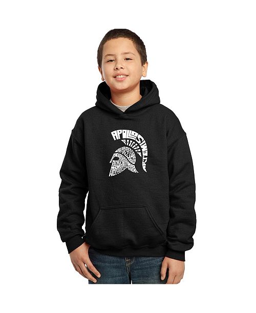 LA Pop Art Boy's Word Art Hoodies - Spartan