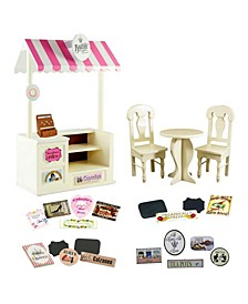 "18"" doll counter and cafe set with bakery, shoe, pizza, tea room and farm stands interchangeable signs"
