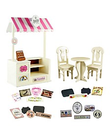 "The Queen's Treasures 18"" doll counter and cafe set with bakery, shoe, pizza, tea room and farm stands interchangeable signs"