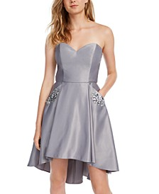 Juniors' Strapless Embellished Fit & Flare Dress