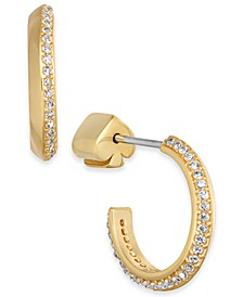 Small Pavé Hoop Huggie Earrings 3/4""