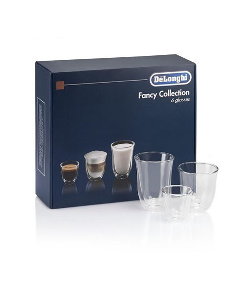 De'Longhi Fancy Collection 6 Glass Set - 2 Espresso, 2 Cappuccino, 2 Latte Macchiato Glasses