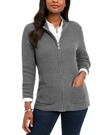 Karen Scott Textured Zip-Front Cardigan, Created for Macy's