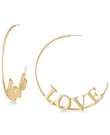 Large Gold-Tone Love Hoop Earrings 2-1/2""