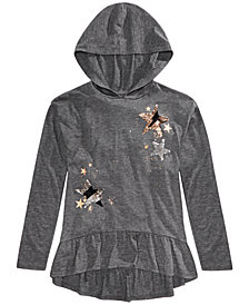 Epic Threads Big Girls Hooded Flip Sequin Star Top, Created For Macy's