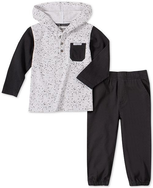 Calvin Klein Toddler Boys 2-Pc. Colorblocked Hoodie & Twill Joggers Set