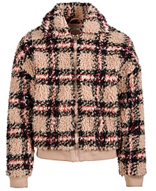 Big Girls Plaid Fuzzy Bomber Jacket, Created For Macy's