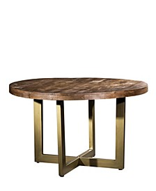 "VILLA 2 Solid Wood Iron Modern Base 47"" Round Dining Table"