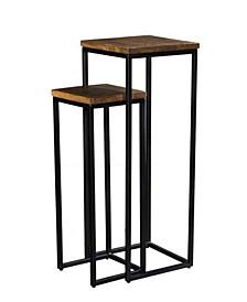 VILLA 2 Solid Wood Set of 2 Iron Nesting Pedestals