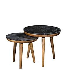 VILLA 2 Pablo Wood Marble Set of 2 Nesting Tables