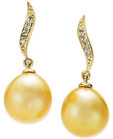 Cultured Golden South Sea Pearl (10mm) & Diamond Accent Drop Earrings in 14k Gold