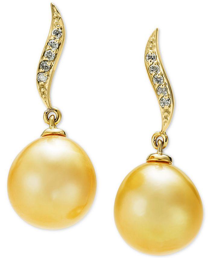 Macy's - Cultured Golden South Sea Pearl (10mm) & Diamond Accent Drop Earrings in 14k Gold
