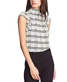 Plaid Mock-Neck Flutter-Sleeve Top