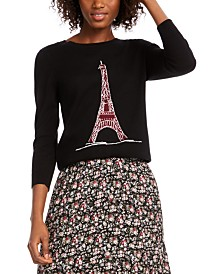 Maison Jules Eiffel Tower Sequin Sweater, Created for Macy's