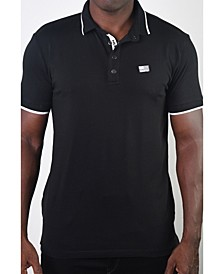 Men's Basic Short Sleeve Snap Button Polo with US Flag Logo