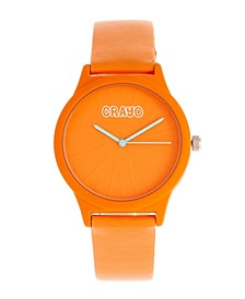 Unisex Splat Orange Leatherette Strap Watch 38mm