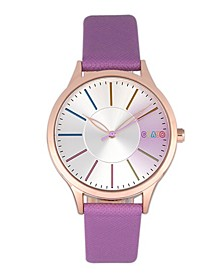 Unisex Gel Purple Leatherette Strap Watch 35mm