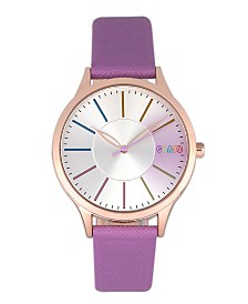 Crayo Unisex Gel Purple Leatherette Strap Watch 35mm