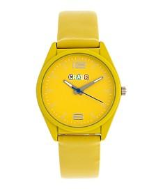Crayo Unisex Dynamic Yellow Leatherette Strap Watch 36mm