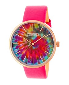Unisex Swirl Hot Pink Leatherette Strap Watch 42mm