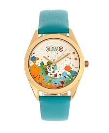 Crayo Unisex Graffiti Powder Blue Genuine Leather Strap Watch 35mm