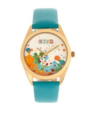 Unisex Graffiti Powder Blue Leatherette Strap Watch 35mm