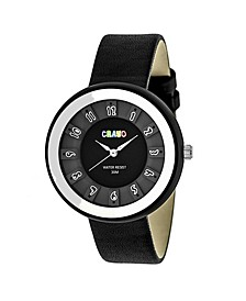 Unisex Celebration Black Genuine Leather Strap Watch 38mm