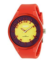 Unisex Burst Red Silicone Strap Watch 40mm