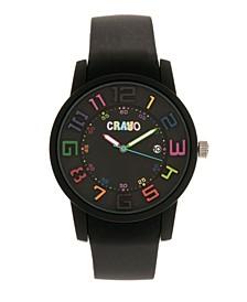 Unisex Festival Black Silicone Strap Watch 41mm