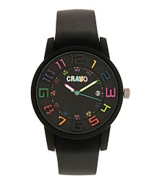 Crayo Unisex Festival Black Silicone Strap Watch 41mm