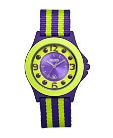 Unisex Carnival Purple, Lime Nylon Strap Watch 39mm
