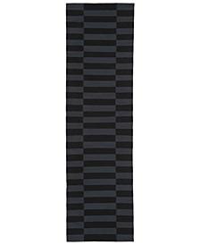 """Ludlow Stripe LRL7350E Onyx 2'3"""" X 8' Runner Area Rug"""