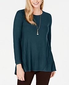 Petite Pleated High-Low Sweater, Created for Macy's