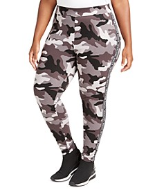 Plus Size Camo Print Logo Leggings