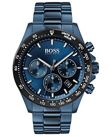 Men's Chronograph Hero Blue Ion-Plated Stainless Steel Bracelet Watch 43mm