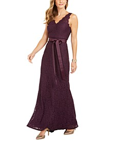 Belted Lace Gown