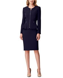 Tahari ASL Zippered Peplum-Hem Skirt Suit