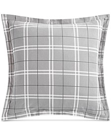 CLOSEOUT! Ticking Plaid Flannel European Sham, Created for Macy's
