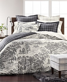 Martha Stewart Collection Fox Toile Flannel Twin Duvet Cover, Created for Macy's