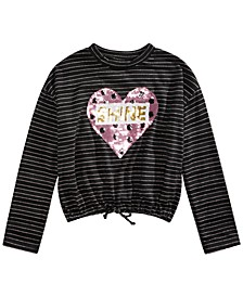 Big Girls Sequined Heart Drawstring Shirt