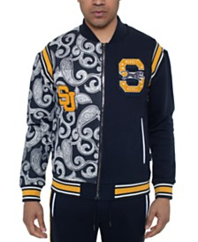 Sean John Men's Varsity Paisley Panther Colorblocked Track Jacket