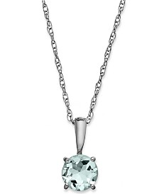 Aquamarine Pendant Necklace in 14k White Gold (5/8 ct. t.w.)