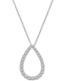 "Diamond Teardrop 18"" Pendant Necklace (1-1/2 ct. t.w.) in 14k White Gold"