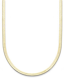 "Giani Bernini 18K Gold over Sterling Silver Necklace, 18"" Herringbone Chain"